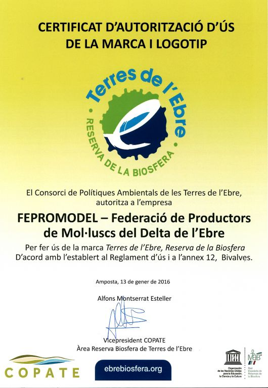 Marisc Fepromodel certificat Reserva de la Biosfera 1
